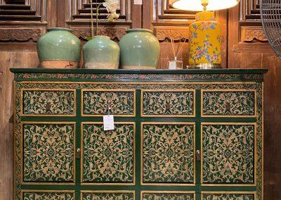 Green & gold Tibetan-style cabinet