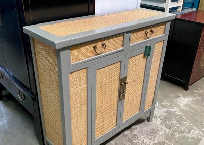Modern chinese grey cabinet with rattan