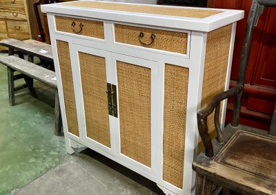 Modern chinese white cabinet with rattan