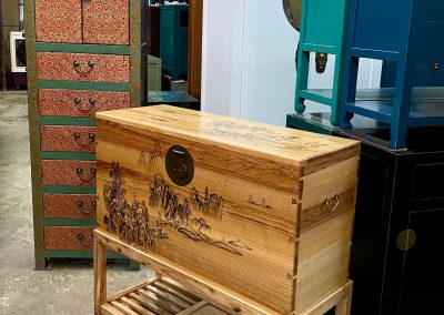 Tibetan-style slim chest of drawers and camphor chest